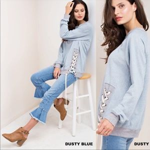 Tops - New Lace Up Dusty Blue and Gray Long Sleeve Top